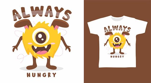 Geel monster altijd hongerig t-shirtontwerp
