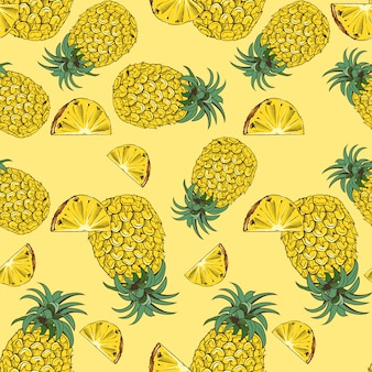 Geel naadloos patroon met ananassen in vintage stijl