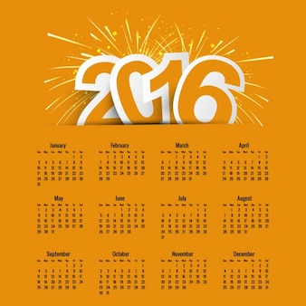 Geel nieuwe jaar 2016 kalender