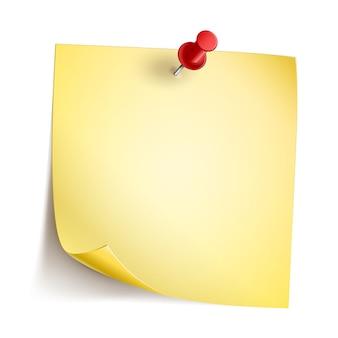 Geel notadocument met rode speld