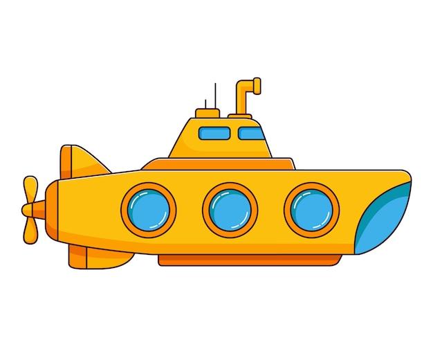 Geel onderzeeër onderwaterschip.