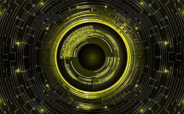 Geel oog cyber circuit toekomstige technologie concept achtergrond