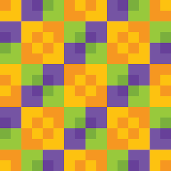 Geel oranje groen en paars heldere kleurrijke halloween kleuren vierkante checker naadloze patroon. geometrische abstracte achtergrond. feestelijke tegels achtergrond behang. vector.