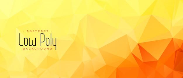 Geel oranje kleur laag poly abstract bannerontwerp