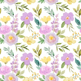 Geel paars bloemen aquarel naadloos patroon