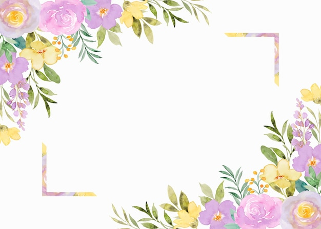 Geel paarse bloemen frame achtergrond met aquarel