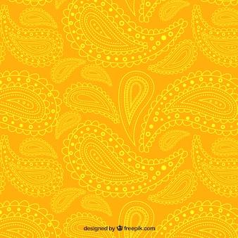 Geel paisley patroon