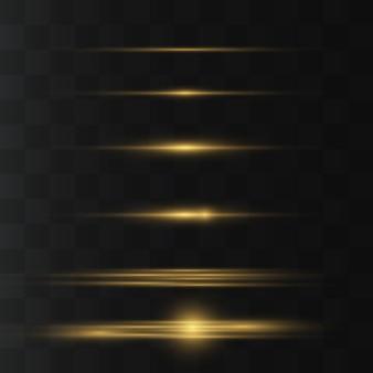 Geel pakket met horizontale lensfakkels. laserstralen, horizontale lichtstralen. mooie lichte fakkels. gloeiende strepen op donkere achtergrond.