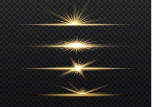 Geel pakket met horizontale lensfakkels. laserstralen, horizontale lichtstralen.