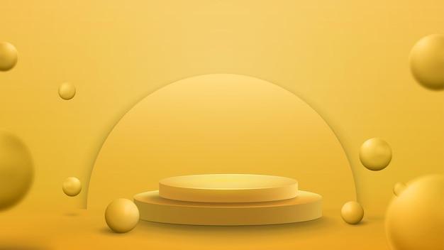 Geel podium met realistische stuiterende ballen, sjabloon. 3d render illustratie met gele abstracte kamer met 3d gele bollen