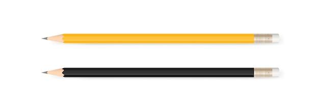 Geel potlood en zwart potlood.