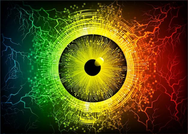 Geel rood cyber circuit toekomst technologie concept achtergrond