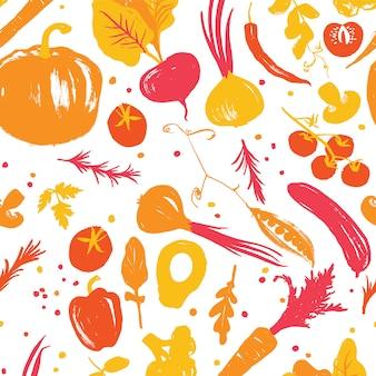 Geel-rood gekleurd plantaardig naadloos patroon met een halve vierkante verschuiving. herfst gewas. producten op de boerenmarkt. fall palet