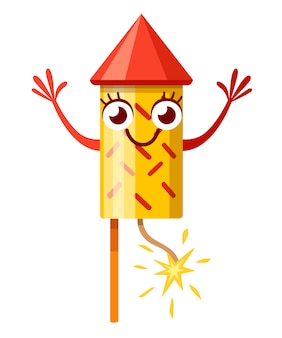 Geel rood vuurwerk raket. karakter. vuurwerk mascotte. raket met brandende lont. illustratie op witte achtergrond.