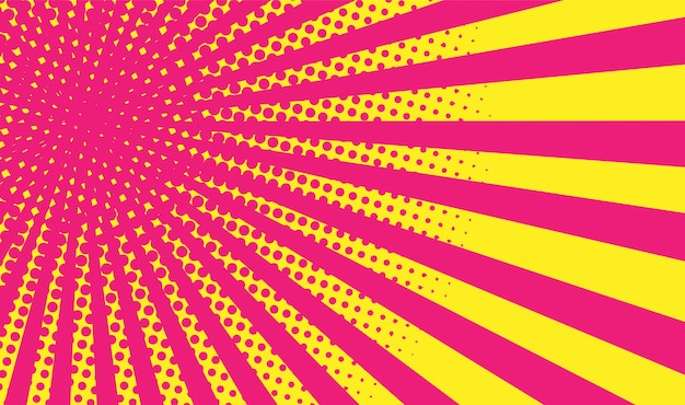 Geel-roze gradiënt halftone achtergrond. pop-art stijl.