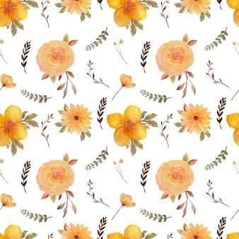 Geel rustiek bloemen naadloos patroon