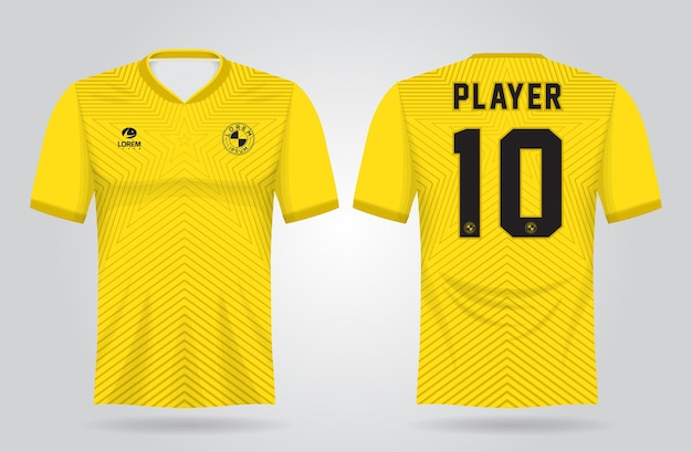 Geel sportshirt sjabloon voor teamuniformen en voetbal t-shirtontwerp