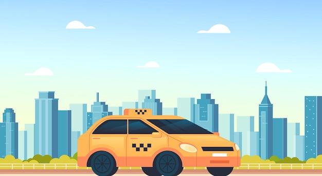 Geel stadstaxi autocabine mobiel online internettoepassingsconcept, cartoon afbeelding