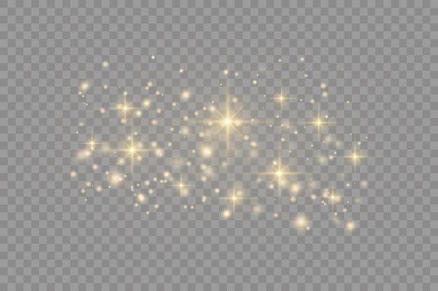 Geel stof bokeh-effect mooie lichtflitsen stofdeeltjes vliegen in de ruimte horizontale lichtstralen gloeiende stofstrepen op een donkere achtergrond