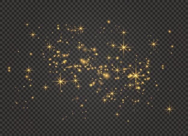 Geel stof. bokeh-effect. stofdeeltjes.