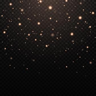 Geel stof mooie lichtflitsen stofdeeltjes vliegen de ruimte in