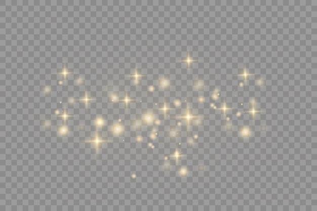 Geel stof mooie lichtflitsen stofdeeltjes vliegen in de ruimte bokeh-effect horizontale lichtstralen gloeiende stofstrepen op een donkere achtergrond