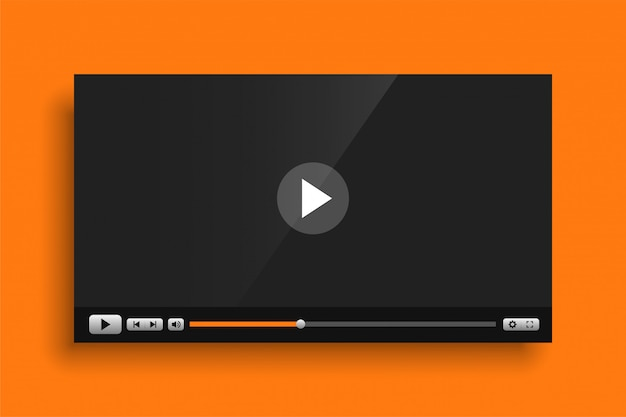 Geel thema video media speler interface sjabloon