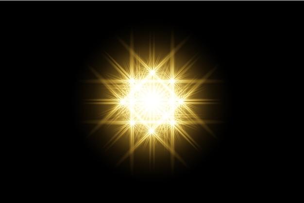 Geel transparante achtergrond lens flares pack