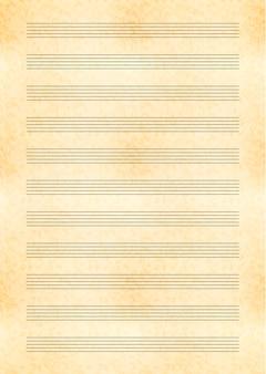Geel vel a4-formaat van oud papier met notenbalk