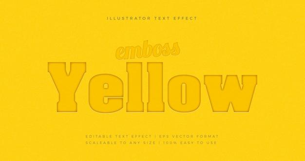 Geel vet reliëf tekststijl lettertype-effect
