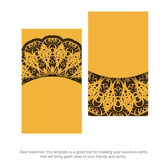 Geel visitekaartje met abstract bruin ornament voor uw zaken.