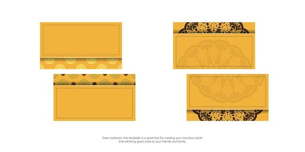 Geel visitekaartje met indisch bruin patroon voor uw zaken.