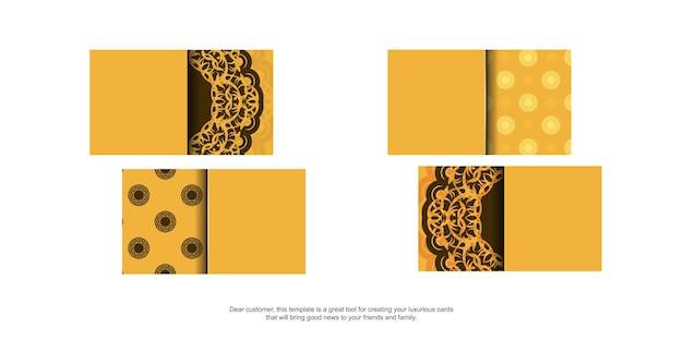 Geel visitekaartje met luxe bruin patroon voor uw merk.
