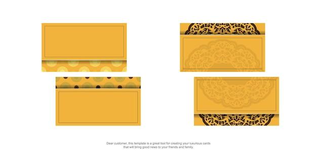 Geel visitekaartje met luxueus bruin patroon voor uw persoonlijkheid.
