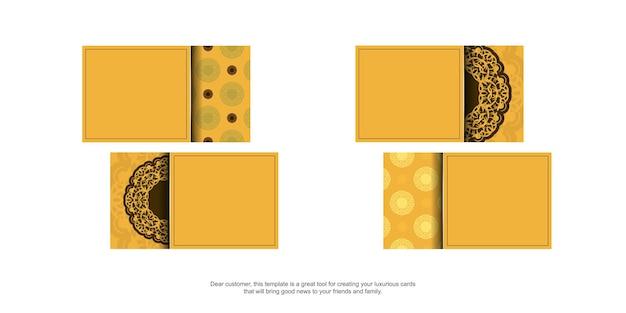 Geel visitekaartje met luxueus bruin patroon voor uw zaken.