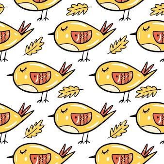 Geel vogel en blad naadloos patroon. hand getekend