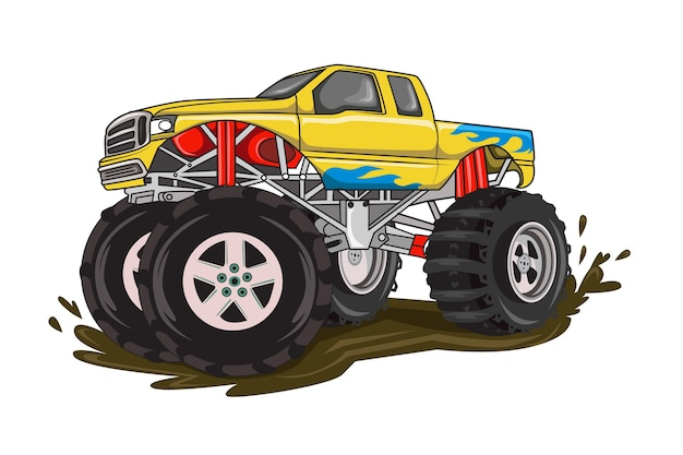 Geel vuur grote monster truck vector