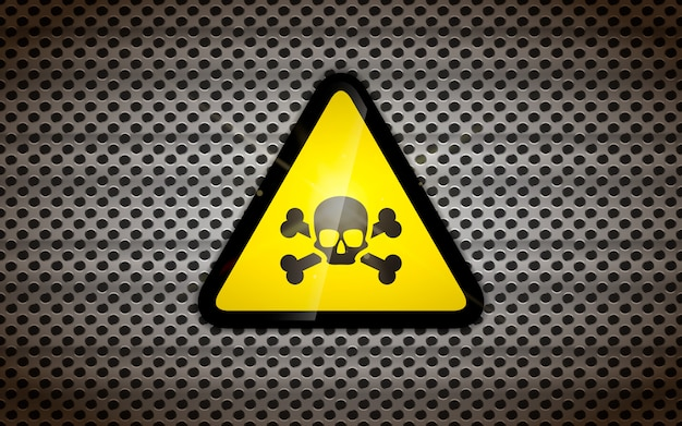 Geel waarschuwingsbord met zwarte schedel op metalen raster, industriële achtergrond