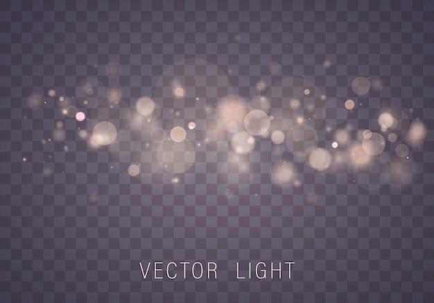Geel wit goud licht abstract gloeiend bokeh licht effect geïsoleerd.