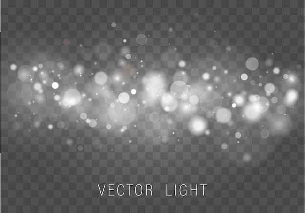 Geel wit goud licht abstracte gloeiende bokeh lichten effect geïsoleerd op transparante achtergrond feestelijke paarse en gouden lichtgevende achtergrond kerstmis concept wazig licht frame vector