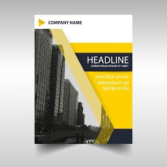 Geel zwart creatieve jaarverslag cover van het boek template