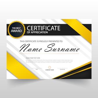 Geel zwart elegant horizontaal certificaat met vector illustratie