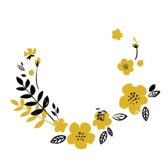 Geel-zwarte bloem krans tekening met een penseel