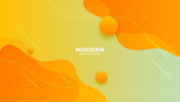 Geeloranje vloeibaar modern ontwerp als achtergrond van de gradiëntstijl