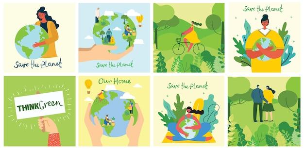 Geen afval, denk groen, red de achtergronden van de planeet