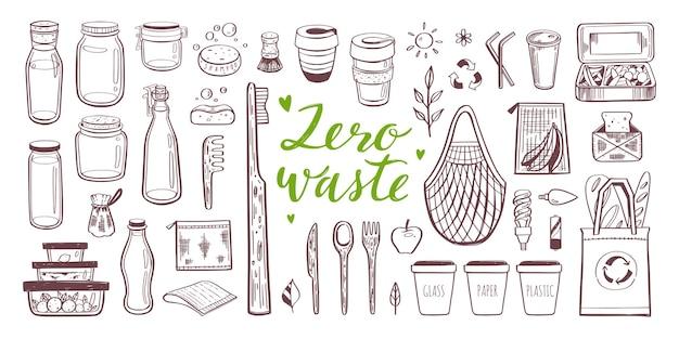 Geen afval en ecologie handgetekende set. verzameling van eco en natuurlijke elementen