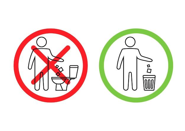 Geen afval in het toilet toilet geen afval spoel geen papieren handdoeken sanitaire producten door