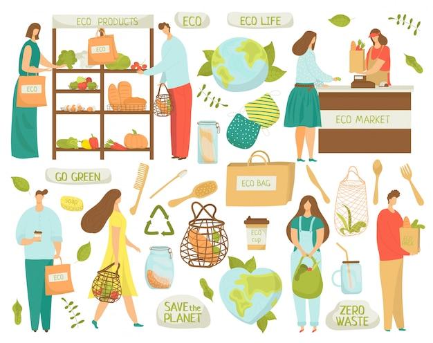 Geen afval, recyclen, eco-elementen van plastic symbolen verminderen, ecologie leven illustraties op wit. geen plastic, groen en nul afval, biologische marktproducten, herbruikbare tassen.