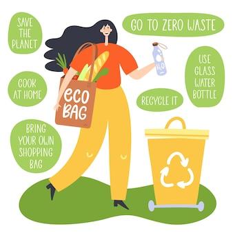 Geen afvalconcept. vrouw met herbruikbare boodschappentas.
