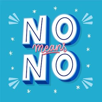 Geen betekent geen creatieve belettering op blauwe achtergrond